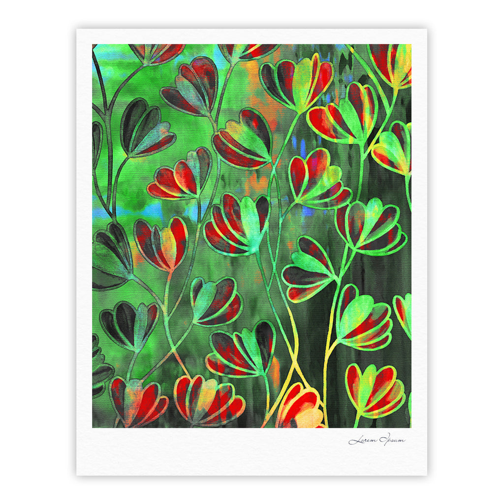 "Ebi Emporium ""Efflorescence - Red Green"" Lime Crimson Fine Art Gallery Print - KESS InHouse"