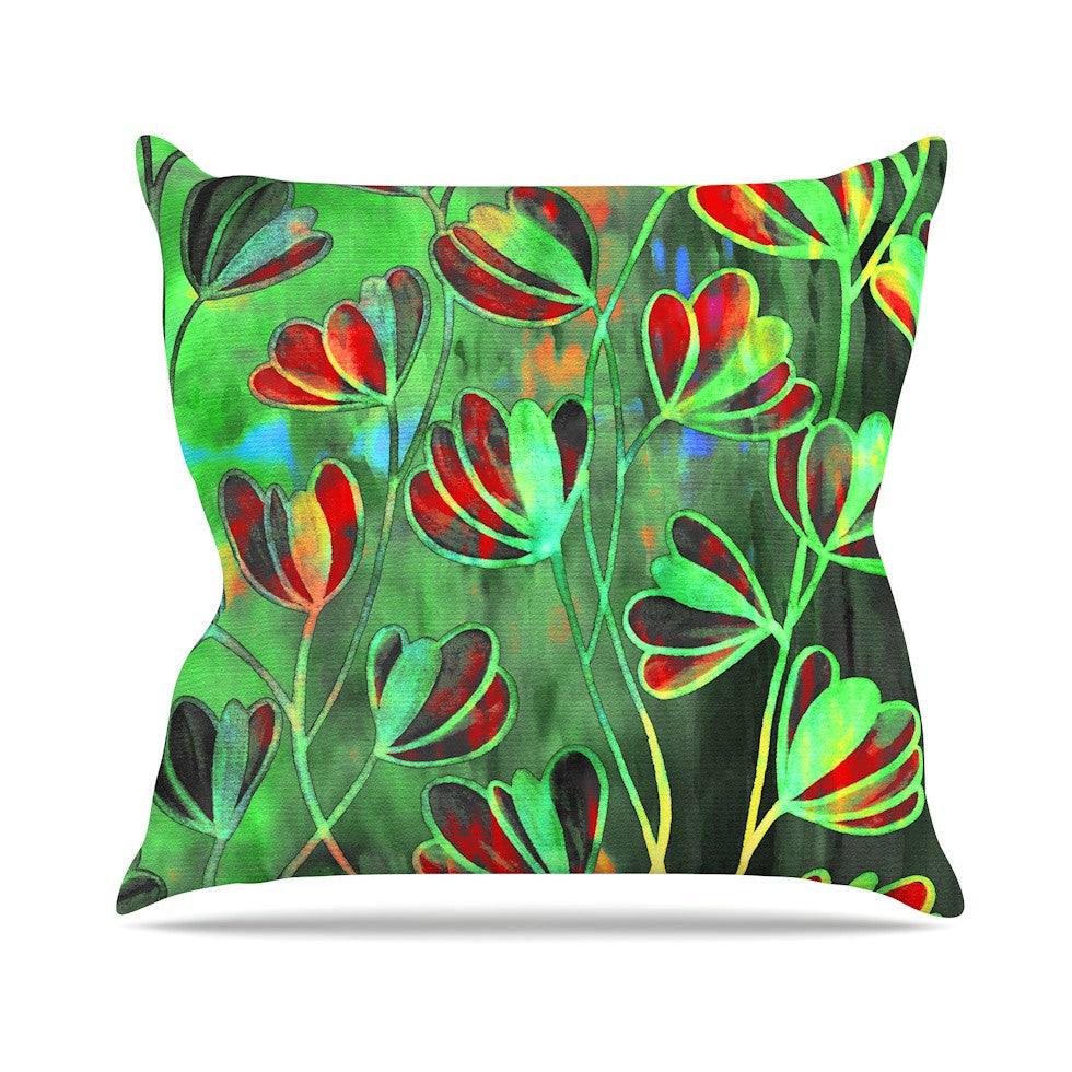 "Ebi Emporium ""Efflorescence - Red Green"" Lime Crimson Outdoor Throw Pillow - KESS InHouse  - 1"