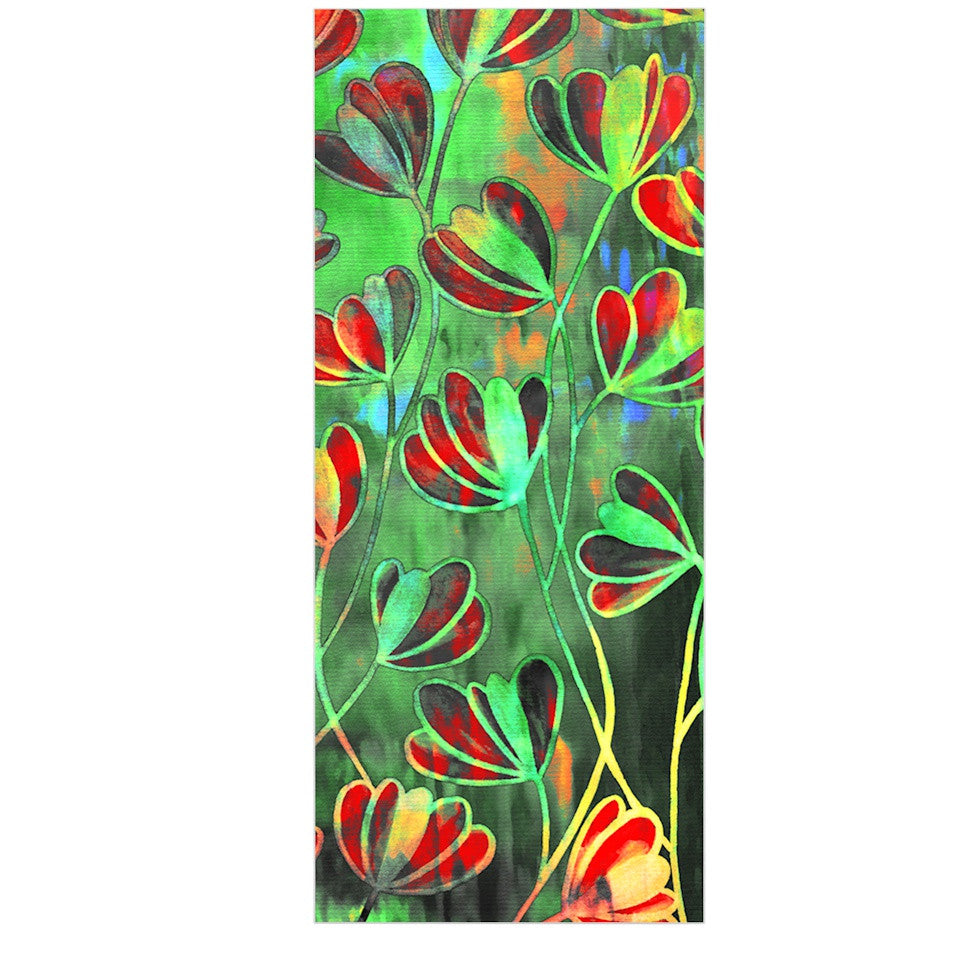 "Ebi Emporium ""Efflorescence - Red Green"" Lime Crimson Luxe Rectangle Panel - KESS InHouse  - 1"