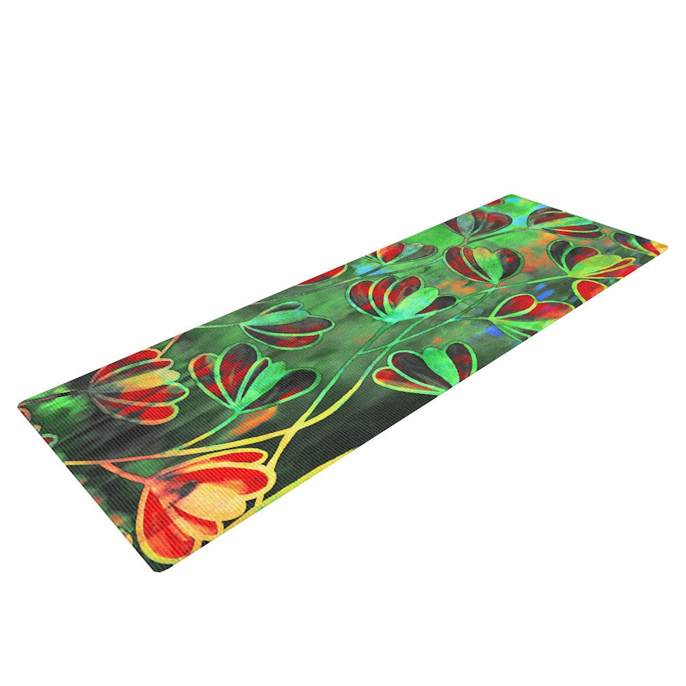 "Ebi Emporium ""Efflorescence - Red Green"" Lime Crimson Yoga Mat - KESS InHouse  - 1"