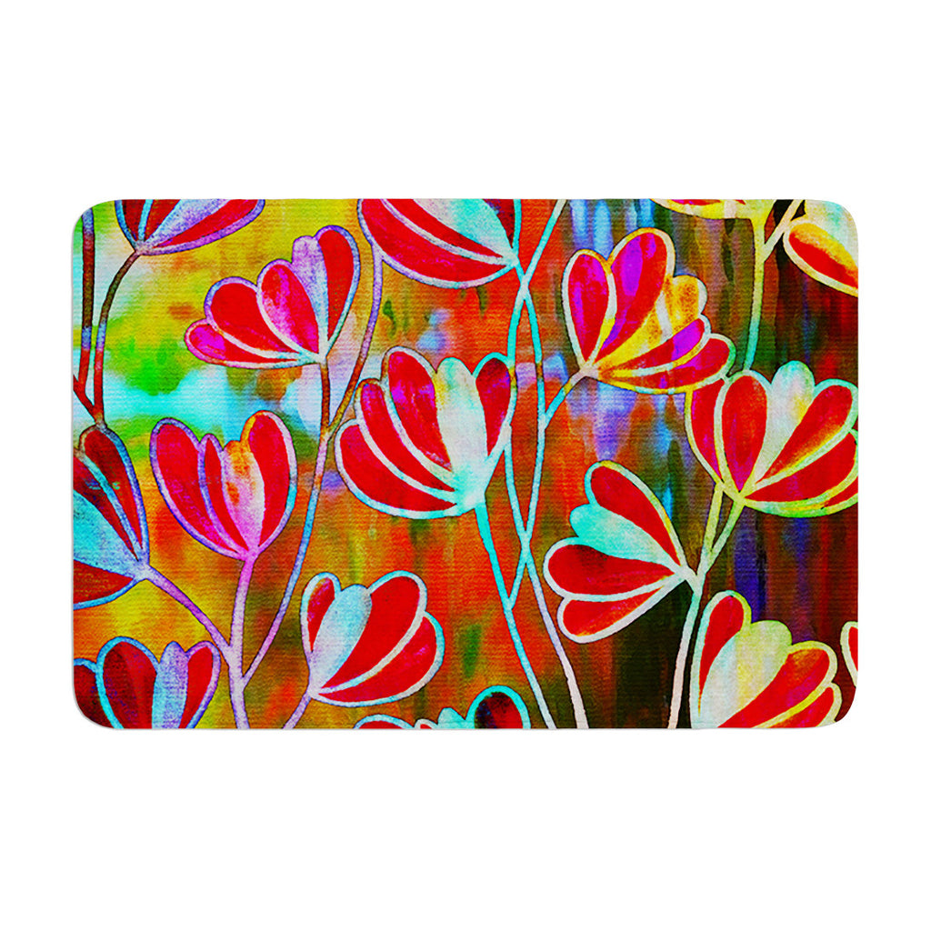 "Ebi Emporium ""Efflorescence - Technicolor"" Red Multicolor Memory Foam Bath Mat - KESS InHouse"