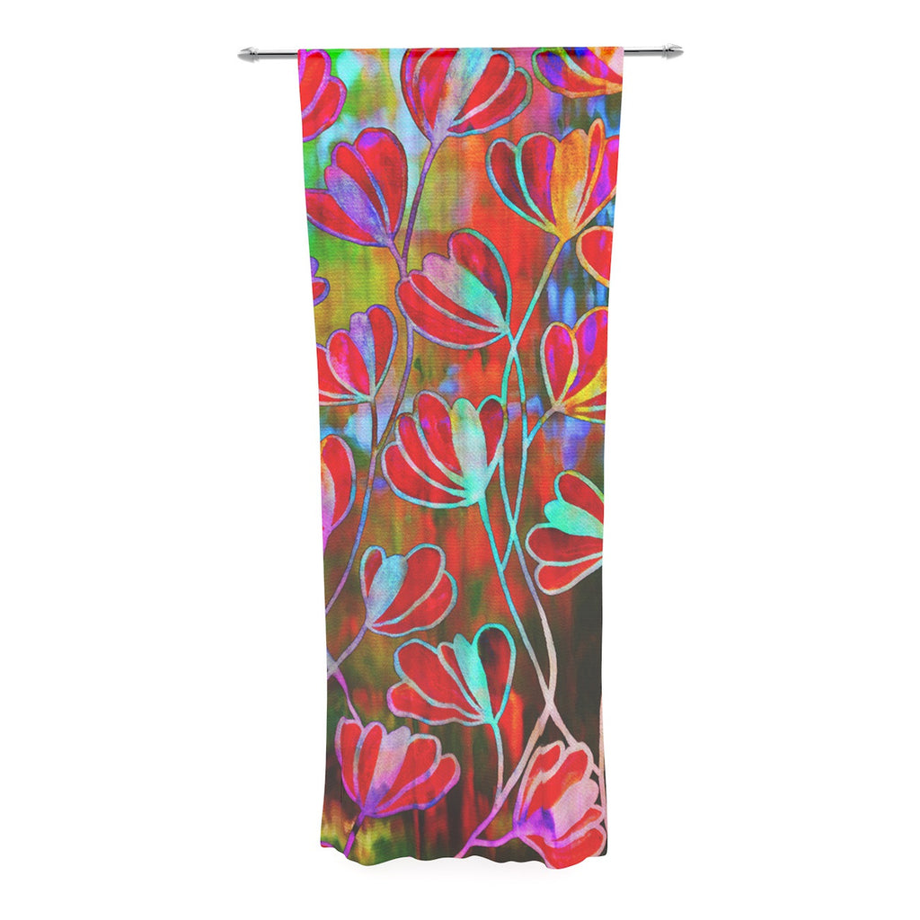 "Ebi Emporium ""Efflorescence - Technicolor"" Red Multicolor Decorative Sheer Curtain - KESS InHouse  - 1"