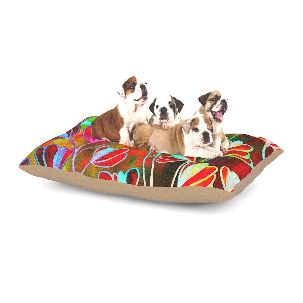 "Ebi Emporium ""Efflorescence - Technicolor"" Red Multicolor Dog Bed - KESS InHouse  - 1"