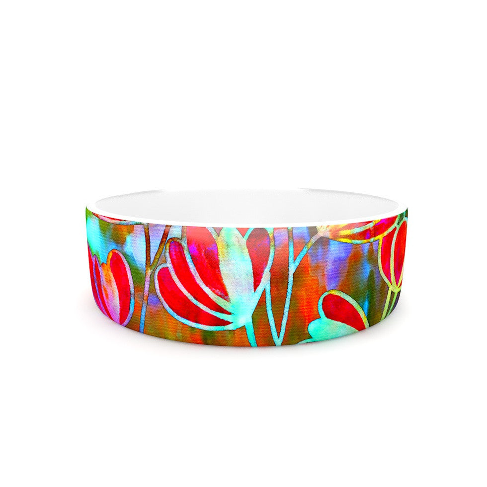 "Ebi Emporium ""Efflorescence - Technicolor"" Red Multicolor Pet Bowl - KESS InHouse"