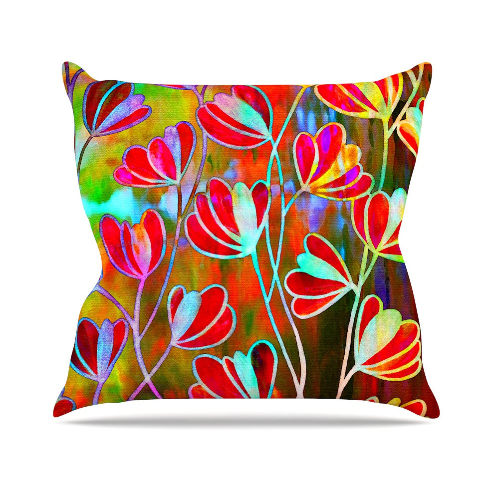 "Ebi Emporium ""Efflorescence - Technicolor"" Red Multicolor Outdoor Throw Pillow - KESS InHouse  - 1"