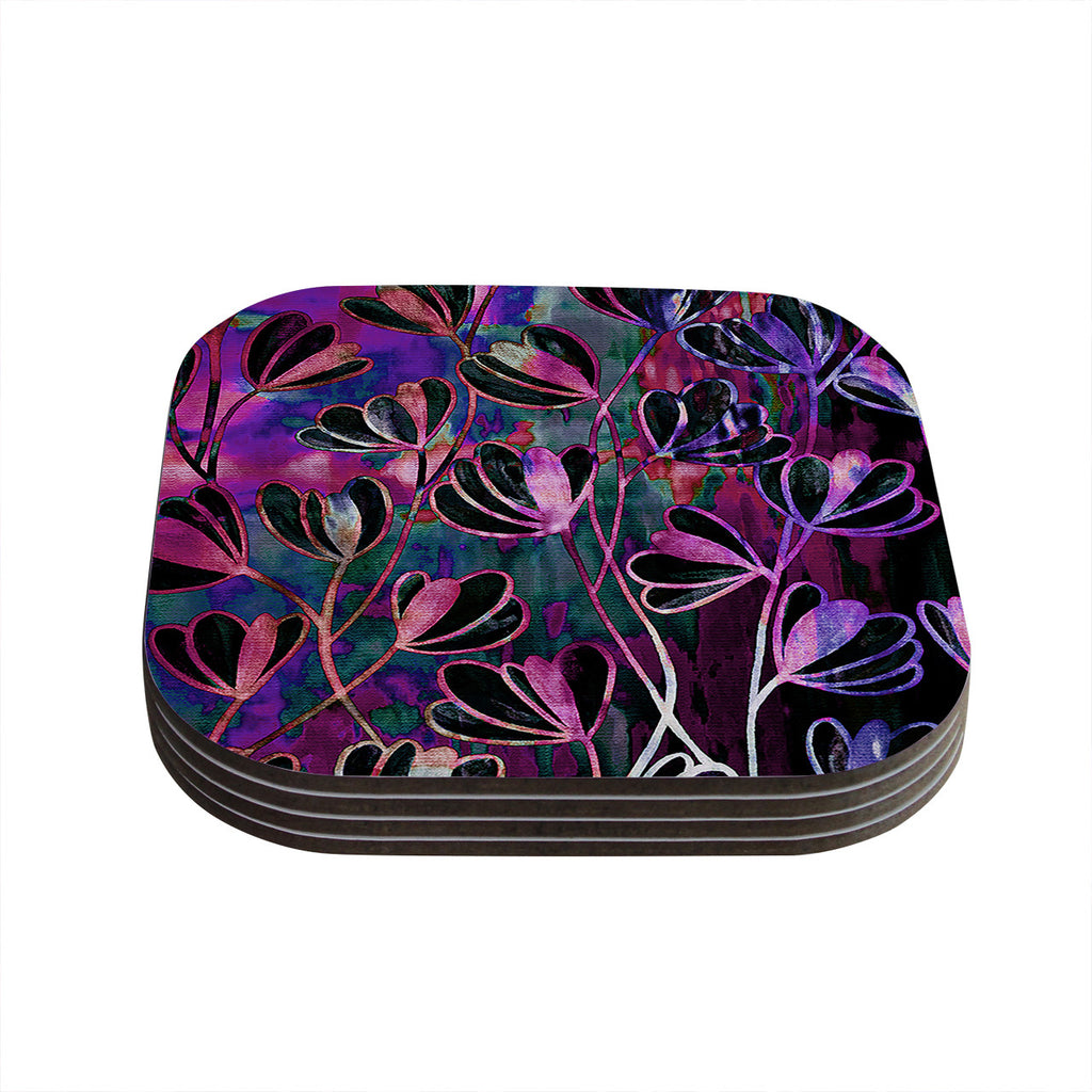 "Ebi Emporium ""Efflorescence - Mixed Berry"" Pink Purple Coasters (Set of 4)"