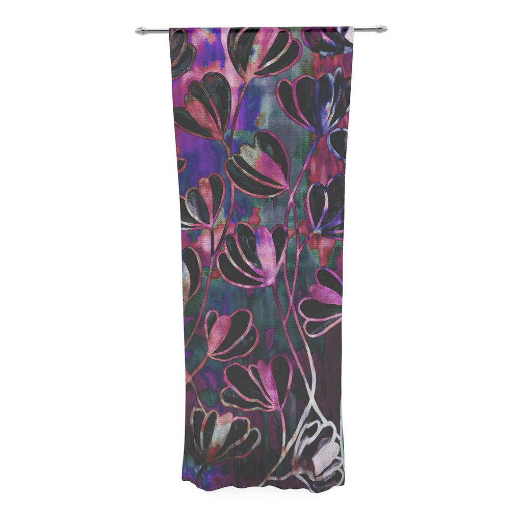 "Ebi Emporium ""Efflorescence - Mixed Berry"" Pink Purple Decorative Sheer Curtain - KESS InHouse  - 1"