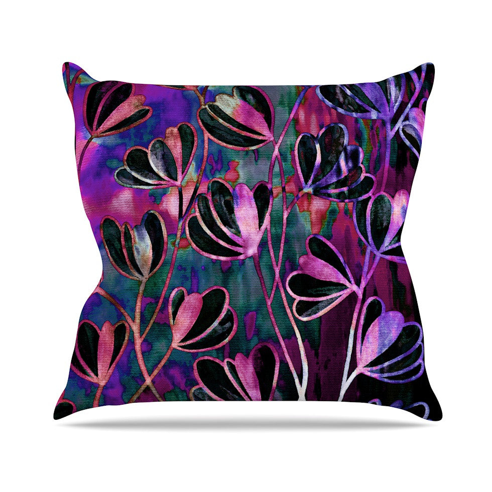 "Ebi Emporium ""Efflorescence - Mixed Berry"" Pink Purple Throw Pillow - KESS InHouse  - 1"