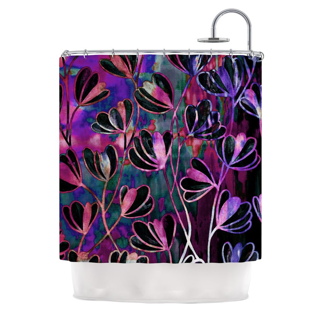 "Ebi Emporium ""Efflorescence - Mixed Berry"" Pink Purple Shower Curtain - KESS InHouse"