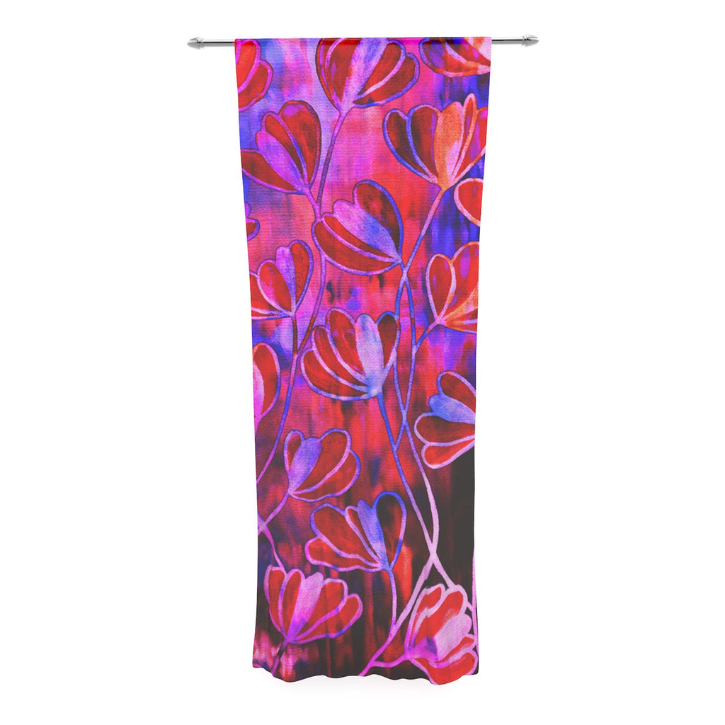 "Ebi Emporium ""Efflorescence - Red Pink"" Magenta Lavender Decorative Sheer Curtain - KESS InHouse  - 1"