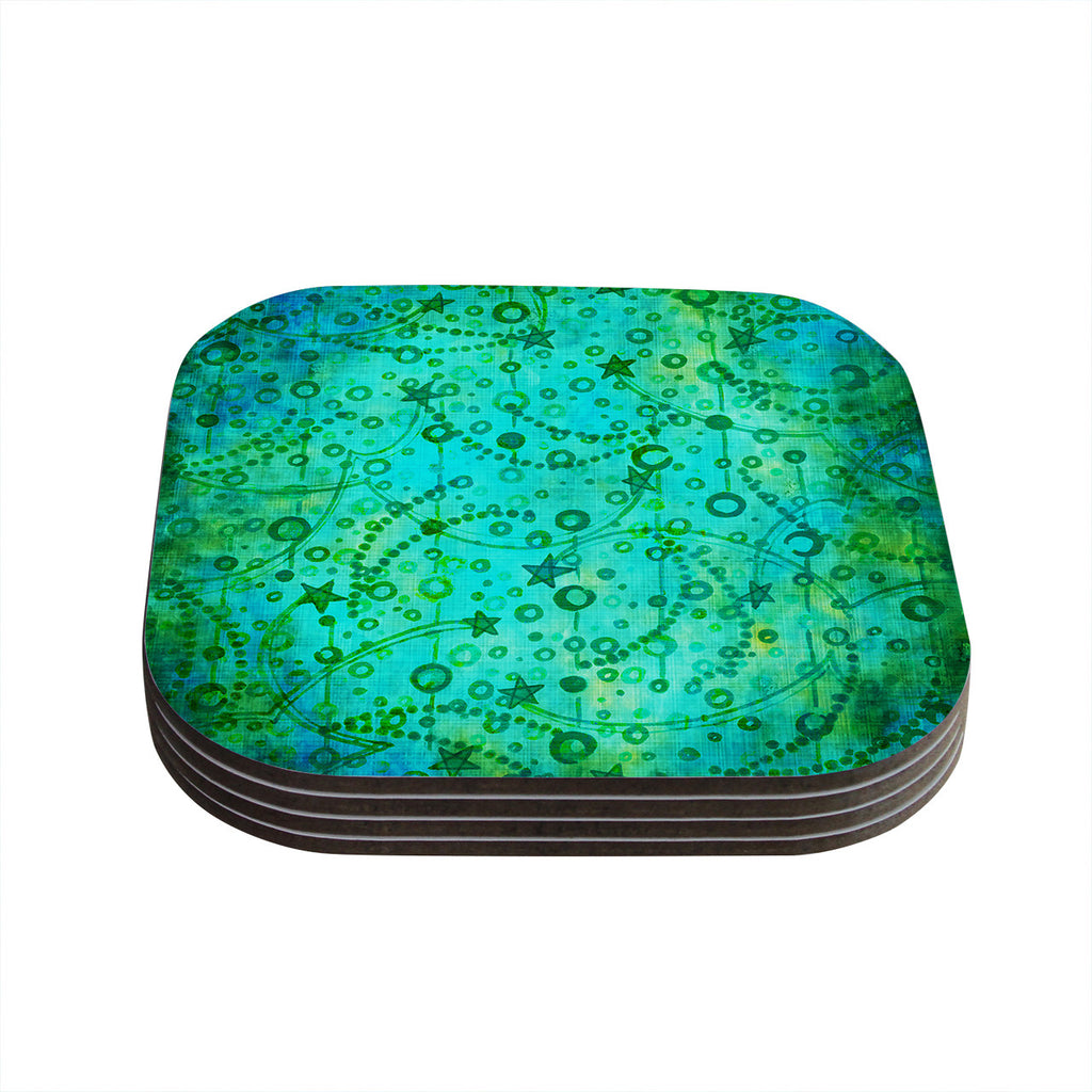 "Ebi Emporium ""Make A Wish II"" Teal Green Coasters (Set of 4)"