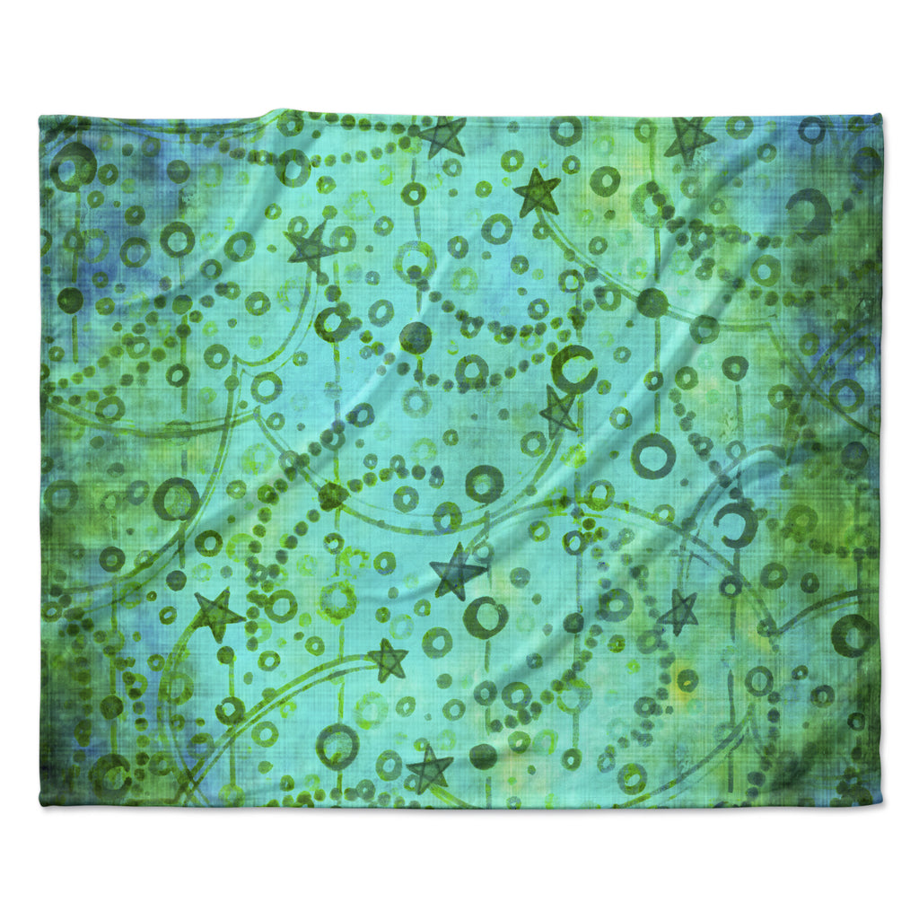 "Ebi Emporium ""Make A Wish II"" Teal Green Fleece Throw Blanket"