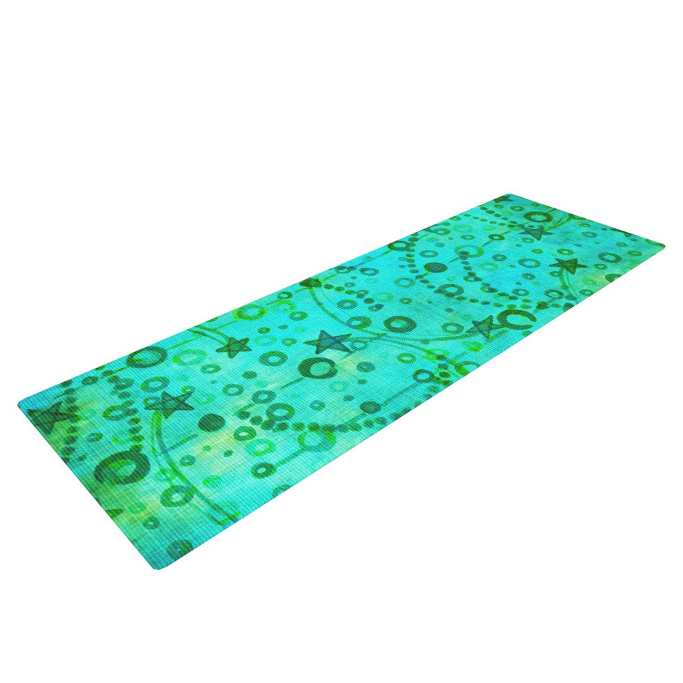 "Ebi Emporium ""Make A Wish II"" Teal Green Yoga Mat - KESS InHouse  - 1"