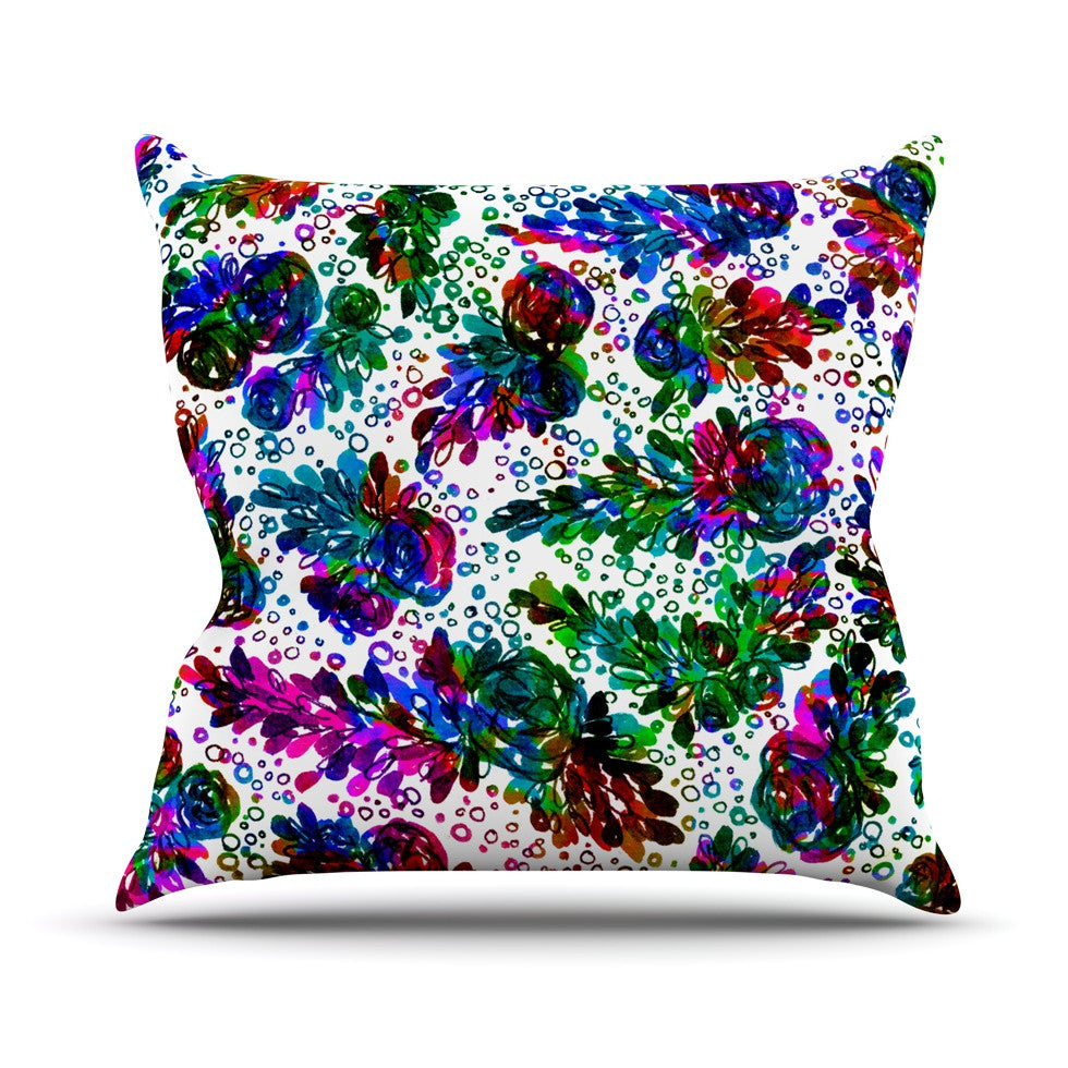 "Ebi Emporium ""Prismatic Posy II"" Rainbow Floral Outdoor Throw Pillow - KESS InHouse  - 1"