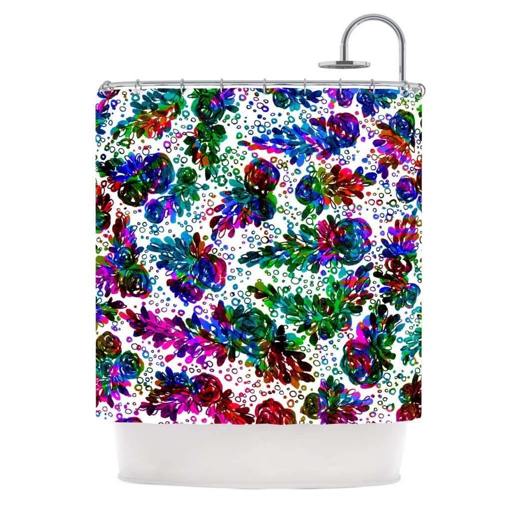 "Ebi Emporium ""Prismatic Posy II"" Rainbow Floral Shower Curtain - KESS InHouse"