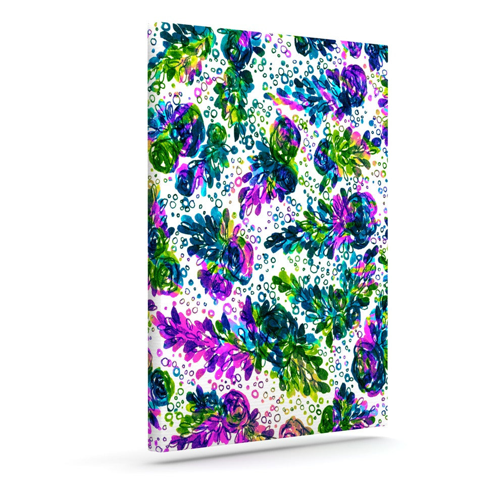 "Ebi Emporium ""Prismatic Posy III"" Purple Green Canvas Art - KESS InHouse  - 1"