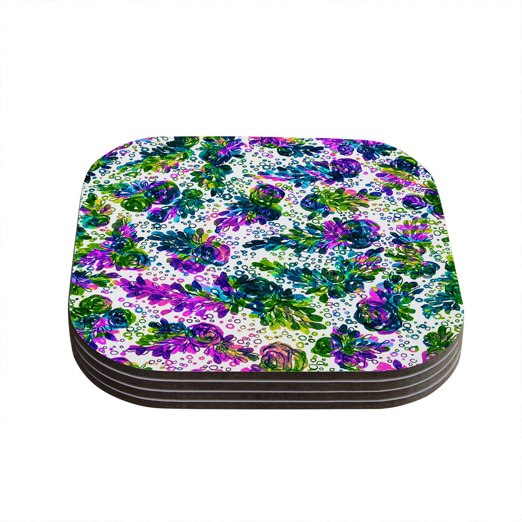 "Ebi Emporium ""Prismatic Posy III"" Purple Green Coasters (Set of 4)"
