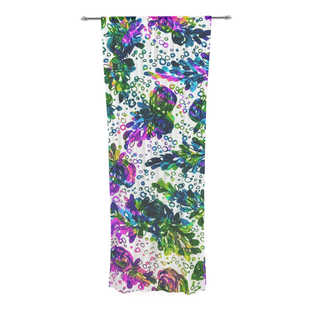 "Ebi Emporium ""Prismatic Posy III"" Purple Green Decorative Sheer Curtain - KESS InHouse  - 1"
