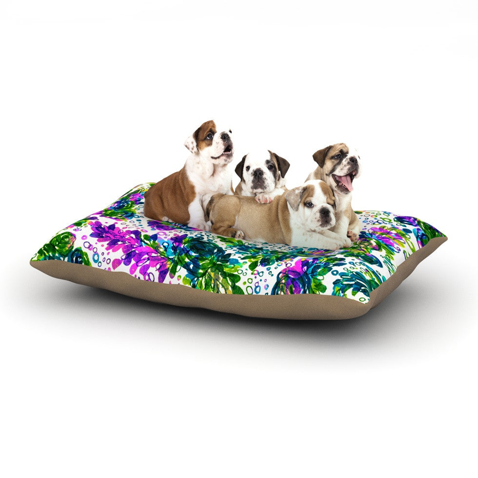 "Ebi Emporium ""Prismatic Posy III"" Purple Green Dog Bed - KESS InHouse  - 1"