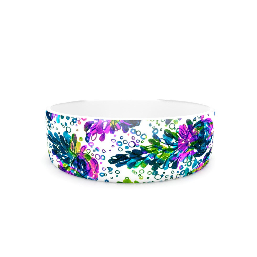 "Ebi Emporium ""Prismatic Posy III"" Purple Green Pet Bowl - KESS InHouse"
