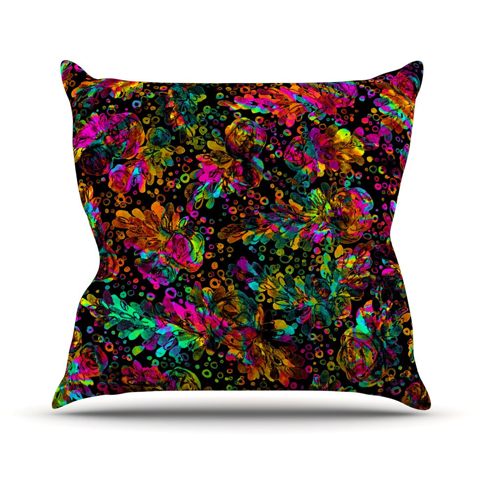 "Ebi Emporium ""Prismatic Posy IV"" Rainbow Floral Throw Pillow - KESS InHouse  - 1"