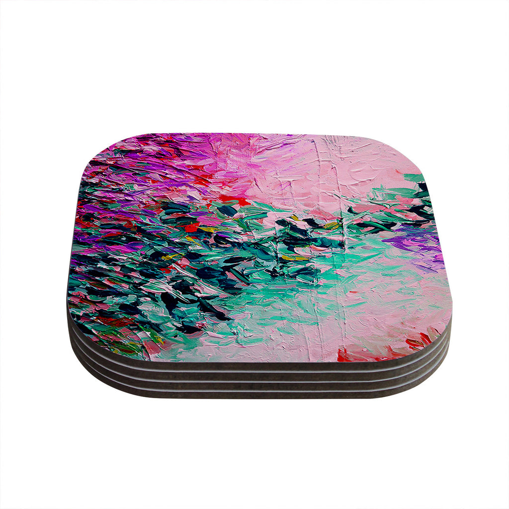 "Ebi Emporium ""Romantic Getaway"" Pink Teal Coasters (Set of 4)"