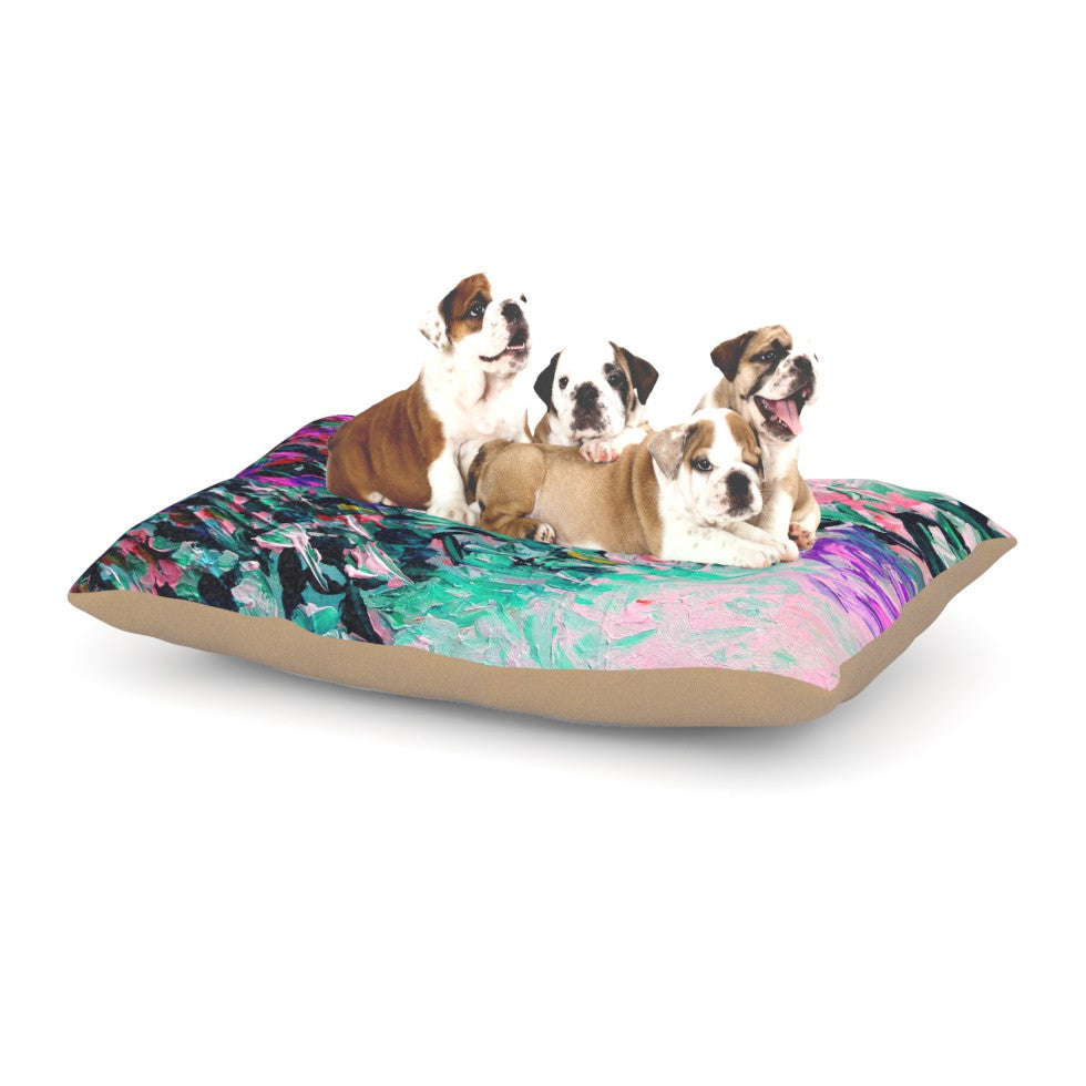 "Ebi Emporium ""Romantic Getaway"" Pink Teal Dog Bed - KESS InHouse  - 1"