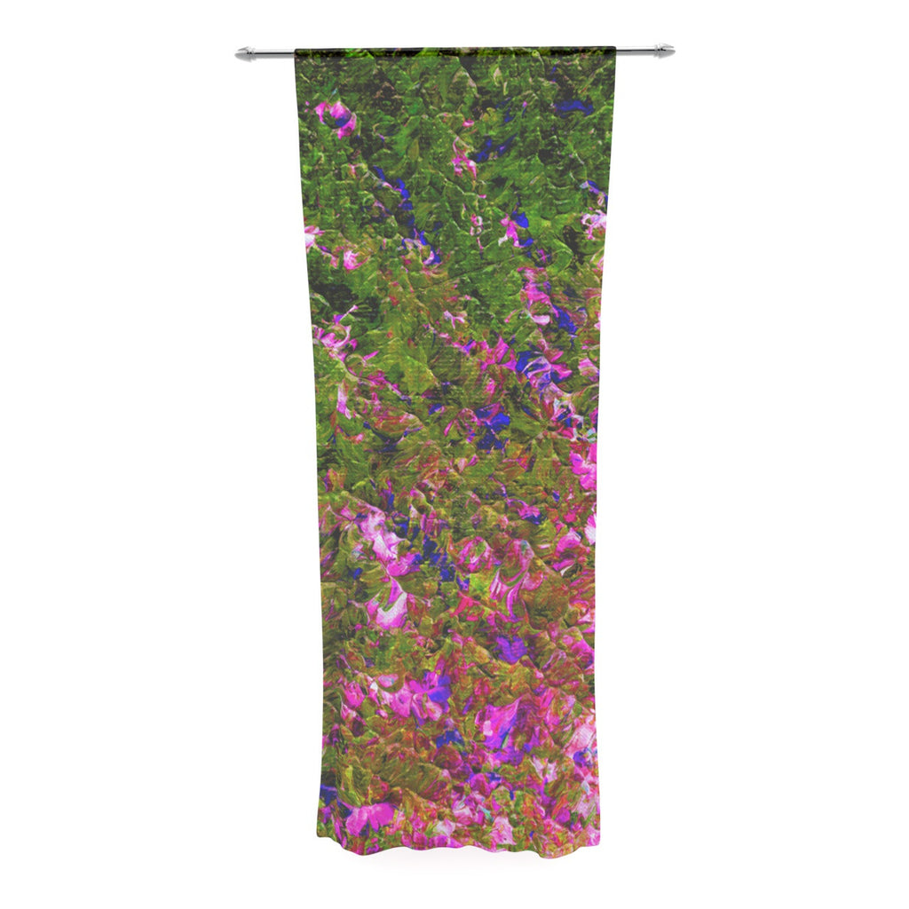 "Ebi Emporium ""Beyond the Horizon"" Pink Green Decorative Sheer Curtain - KESS InHouse  - 1"