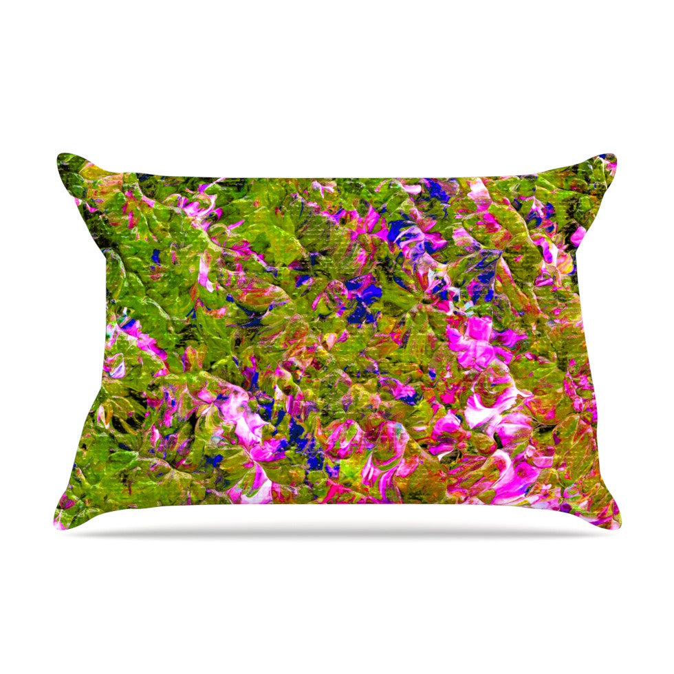"Ebi Emporium ""Beyond the Horizon"" Pink Green Pillow Sham - KESS InHouse"