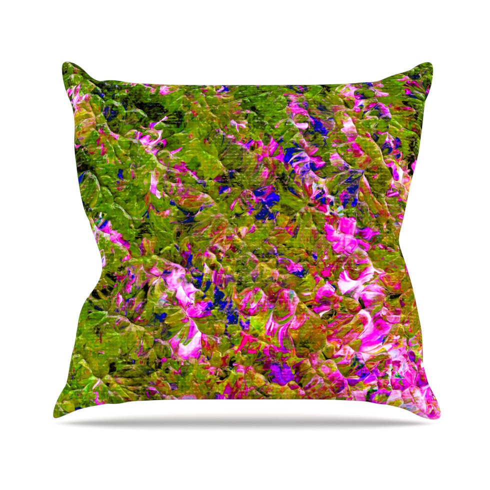 "Ebi Emporium ""Beyond the Horizon"" Pink Green Throw Pillow - KESS InHouse  - 1"