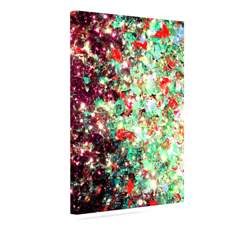 "Ebi Emporium ""Mistletoe Nebula"" Red Green Canvas Art - KESS InHouse  - 1"