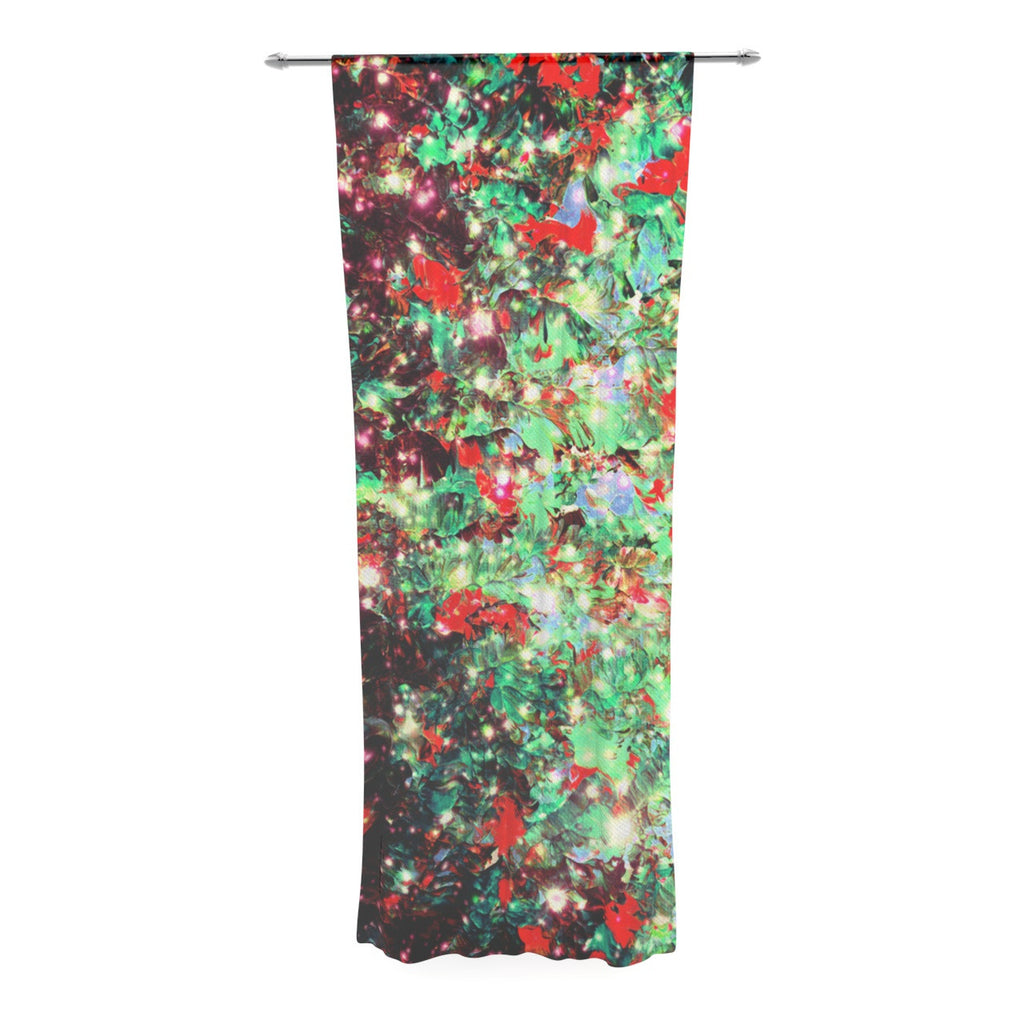 "Ebi Emporium ""Mistletoe Nebula"" Red Green Decorative Sheer Curtain - KESS InHouse  - 1"