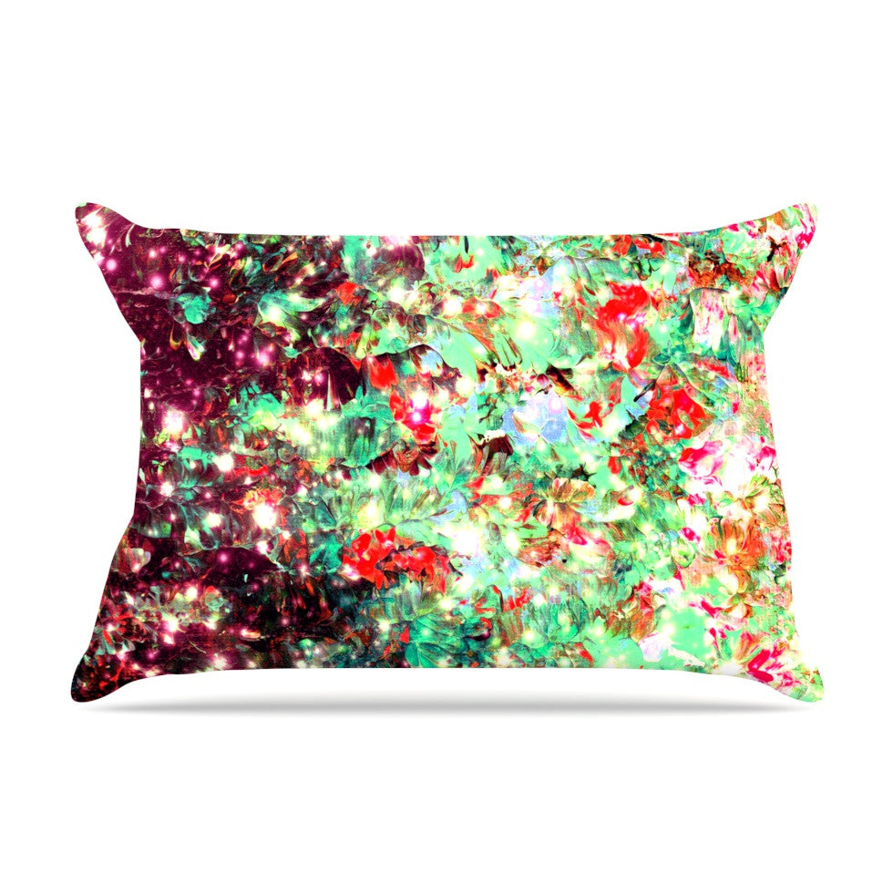 "Ebi Emporium ""Mistletoe Nebula"" Red Green Pillow Sham - KESS InHouse"