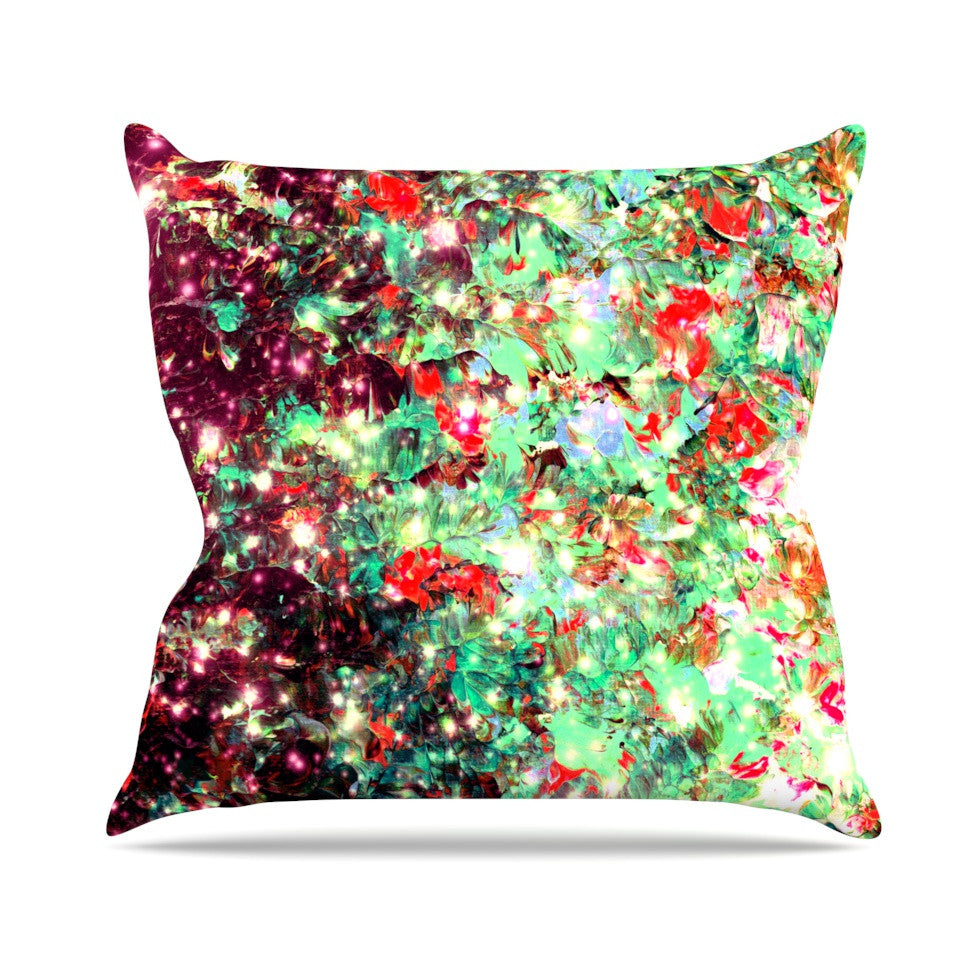 "Ebi Emporium ""Mistletoe Nebula"" Red Green Outdoor Throw Pillow - KESS InHouse  - 1"