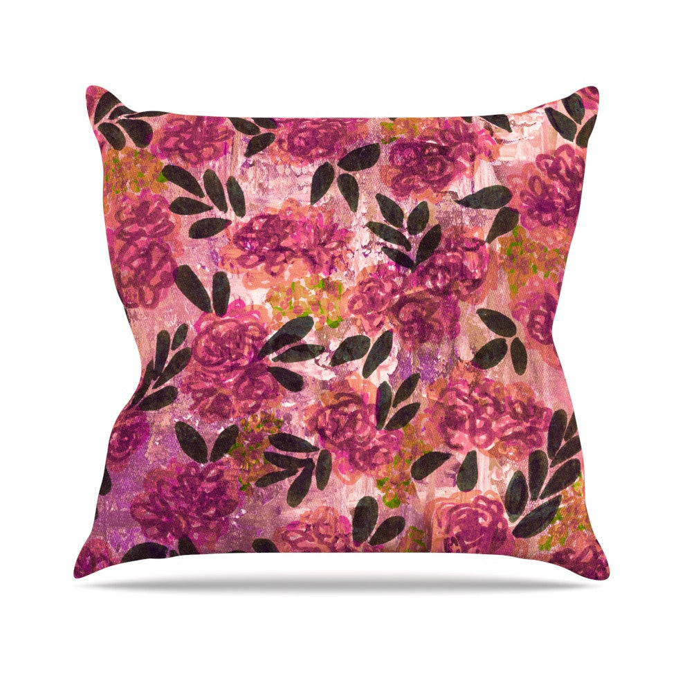 "Ebi Emporium ""Grunge Flowers II"" Pink Floral Outdoor Throw Pillow - KESS InHouse  - 1"
