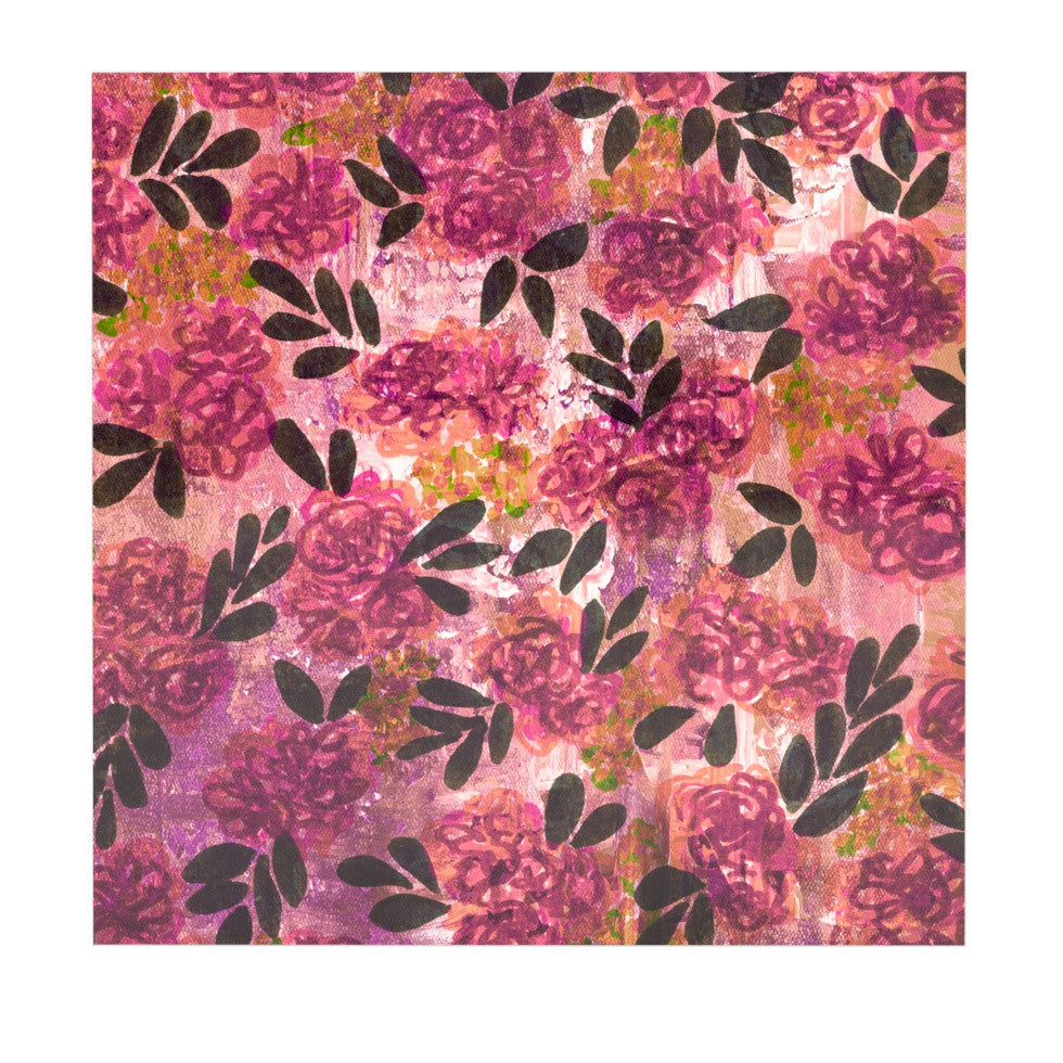 "Ebi Emporium ""Grunge Flowers II"" Pink Floral Luxe Square Panel - KESS InHouse  - 1"