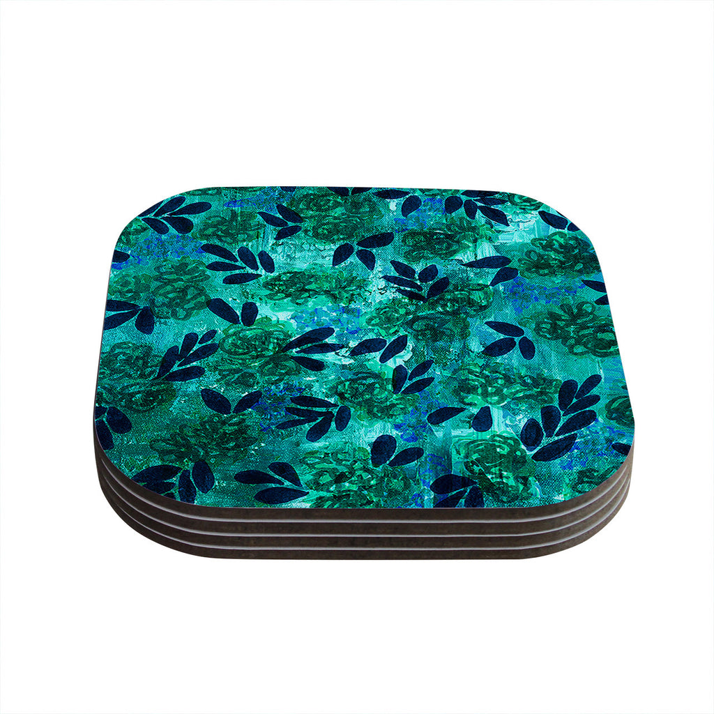 "Ebi Emporium ""Grunge Flowers III"" Teal Floral Coasters (Set of 4)"