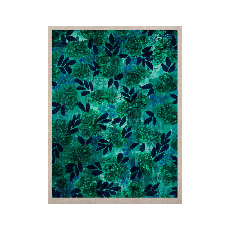 "Ebi Emporium ""Grunge Flowers III"" Teal Floral KESS Naturals Canvas (Frame not Included) - KESS InHouse  - 1"