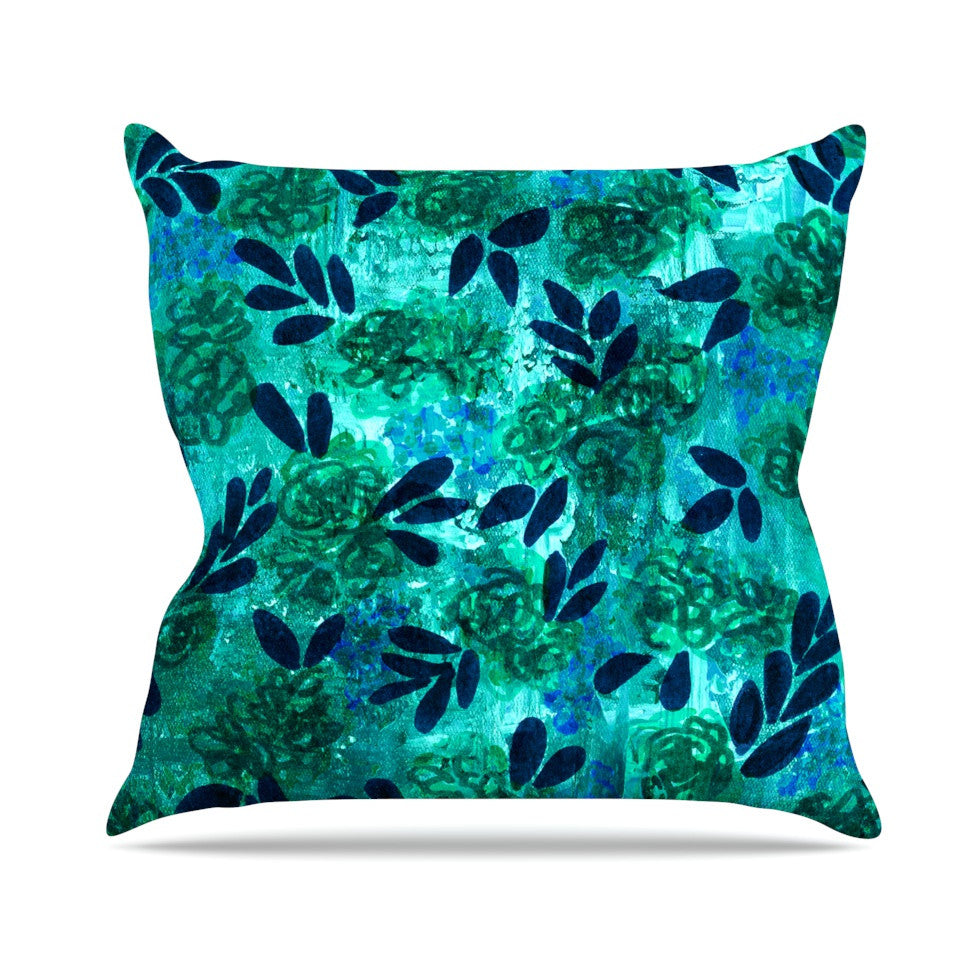 "Ebi Emporium ""Grunge Flowers III"" Teal Floral Outdoor Throw Pillow - KESS InHouse  - 1"