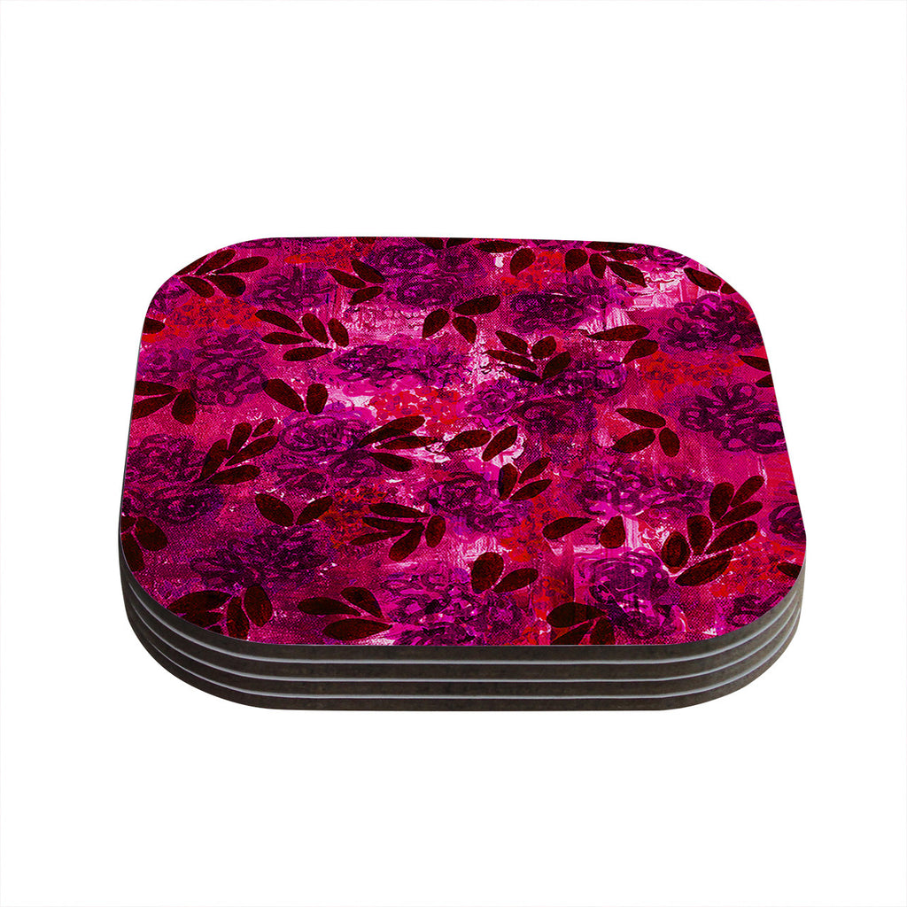 "Ebi Emporium ""Grunge Flowers IV"" Pink Red Coasters (Set of 4)"