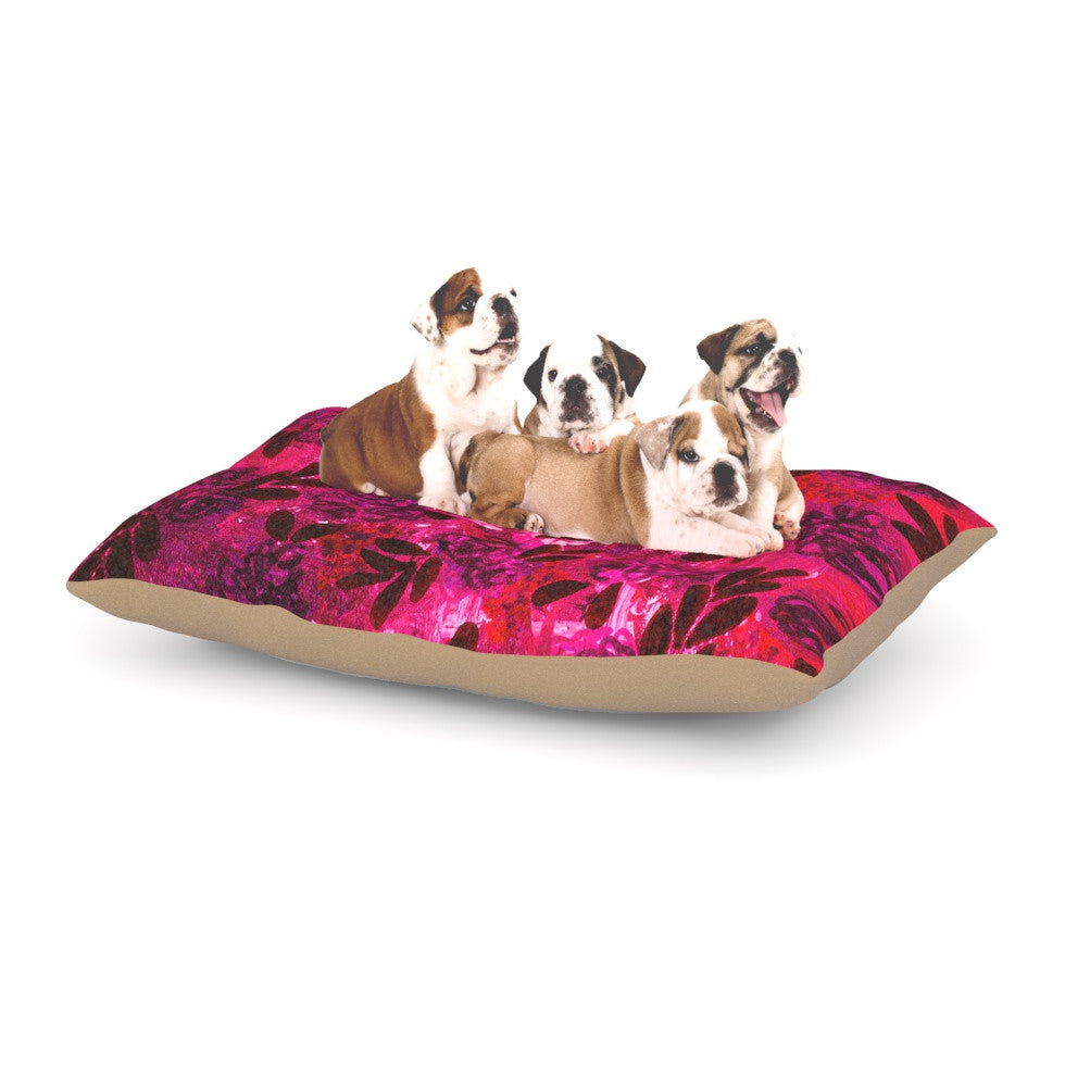 "Ebi Emporium ""Grunge Flowers IV"" Pink Red Dog Bed - KESS InHouse  - 1"
