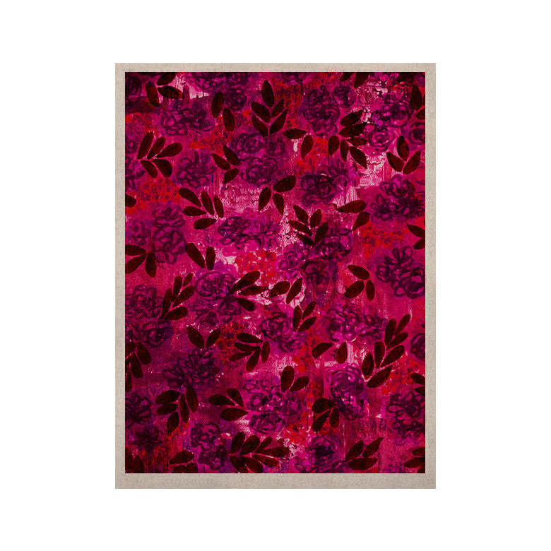 "Ebi Emporium ""Grunge Flowers IV"" Pink Red KESS Naturals Canvas (Frame not Included) - KESS InHouse  - 1"