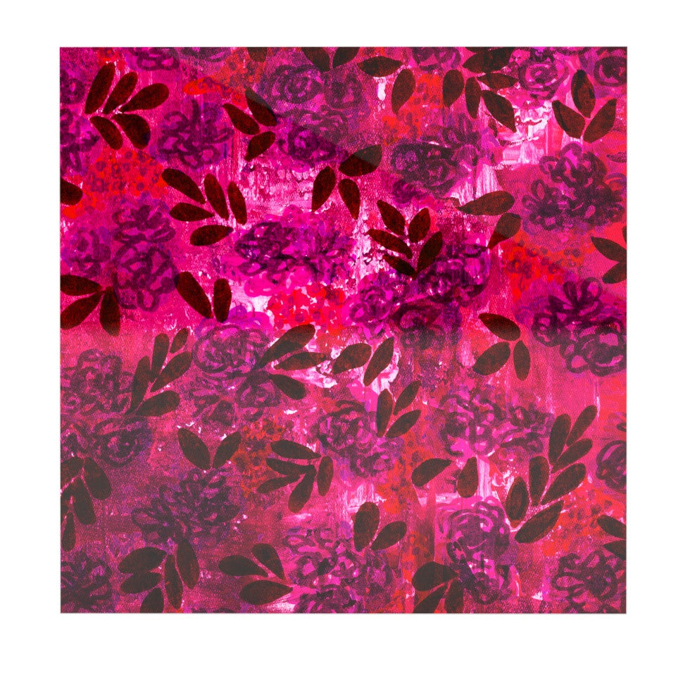 "Ebi Emporium ""Grunge Flowers IV"" Pink Red Luxe Square Panel - KESS InHouse  - 1"