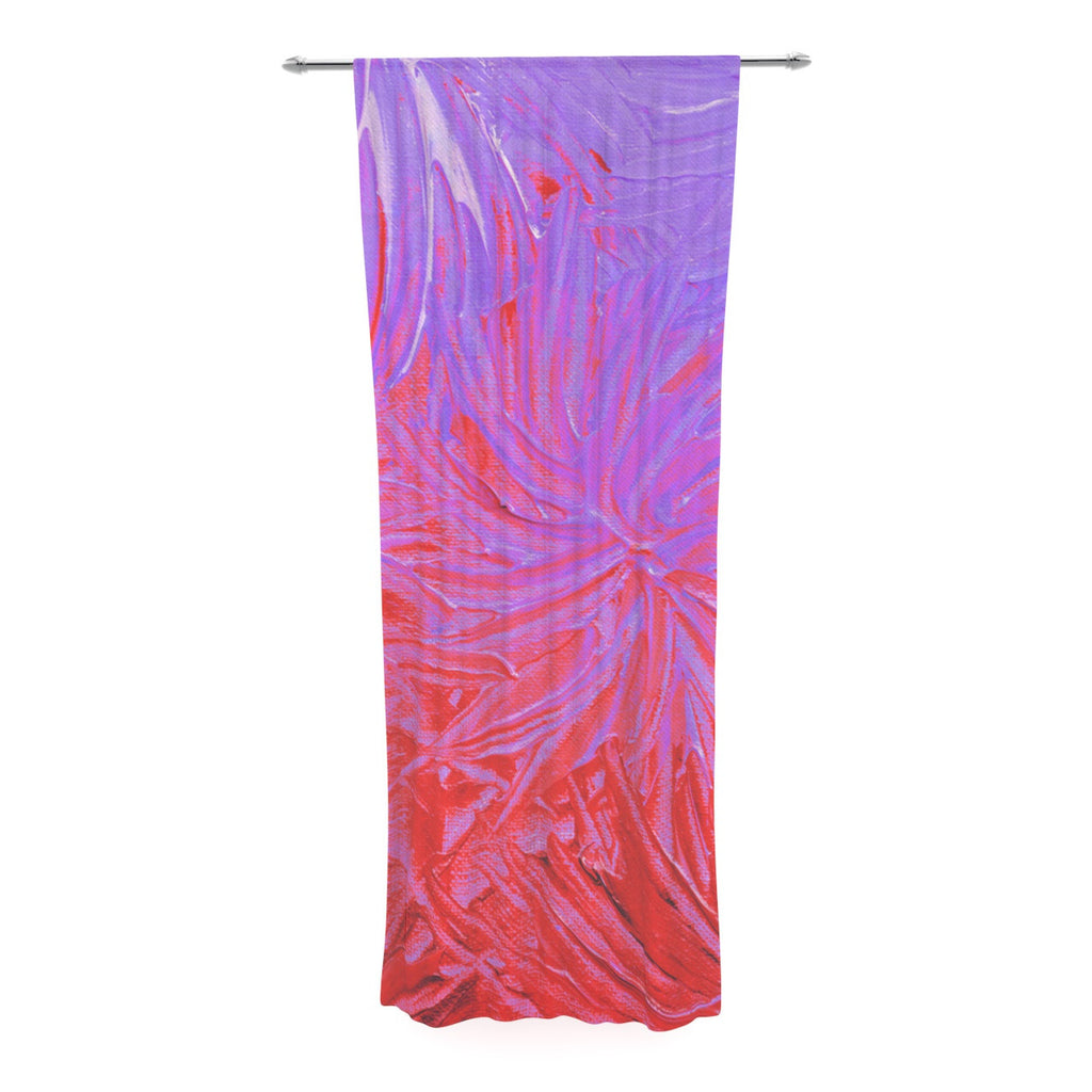 "Ebi Emporium ""Water Flowers Crimson Lilac"" Pink Red Decorative Sheer Curtain - KESS InHouse  - 1"