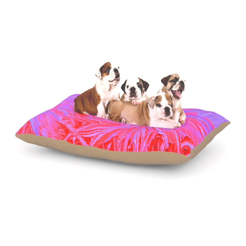 "Ebi Emporium ""Water Flowers Crimson Lilac"" Pink Red Dog Bed - KESS InHouse  - 1"