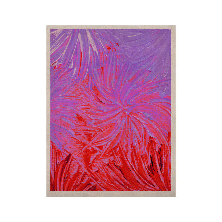 "Ebi Emporium ""Water Flowers Crimson Lilac"" Pink Red KESS Naturals Canvas (Frame not Included) - KESS InHouse  - 1"