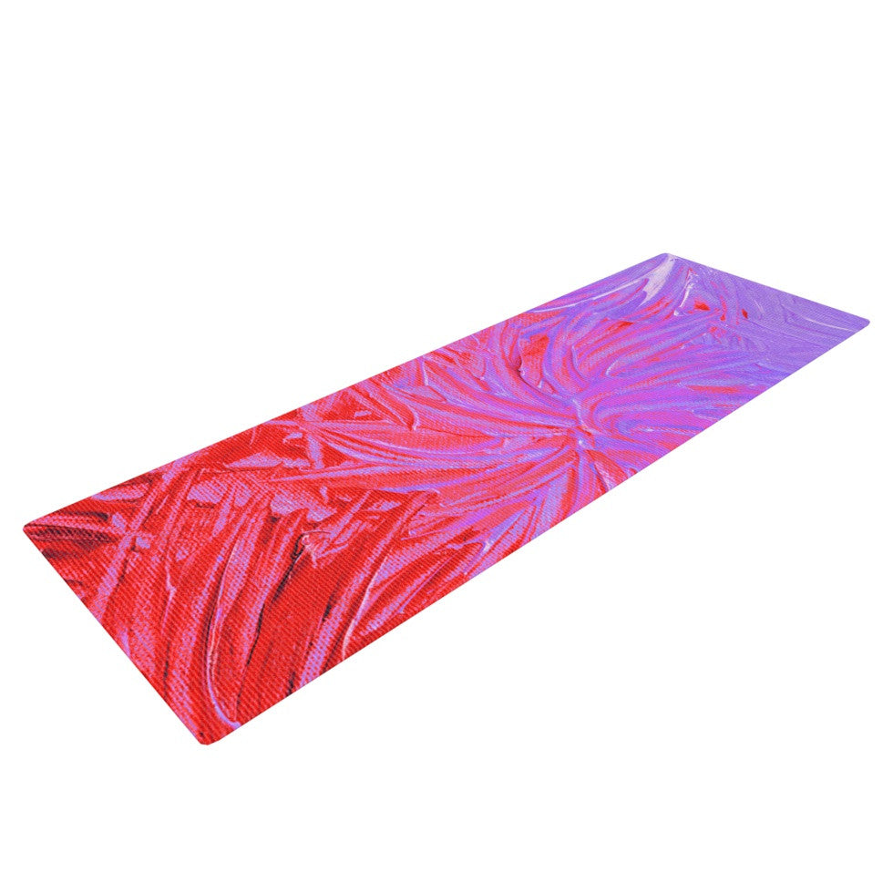 "Ebi Emporium ""Water Flowers Crimson Lilac"" Pink Red Yoga Mat - KESS InHouse  - 1"