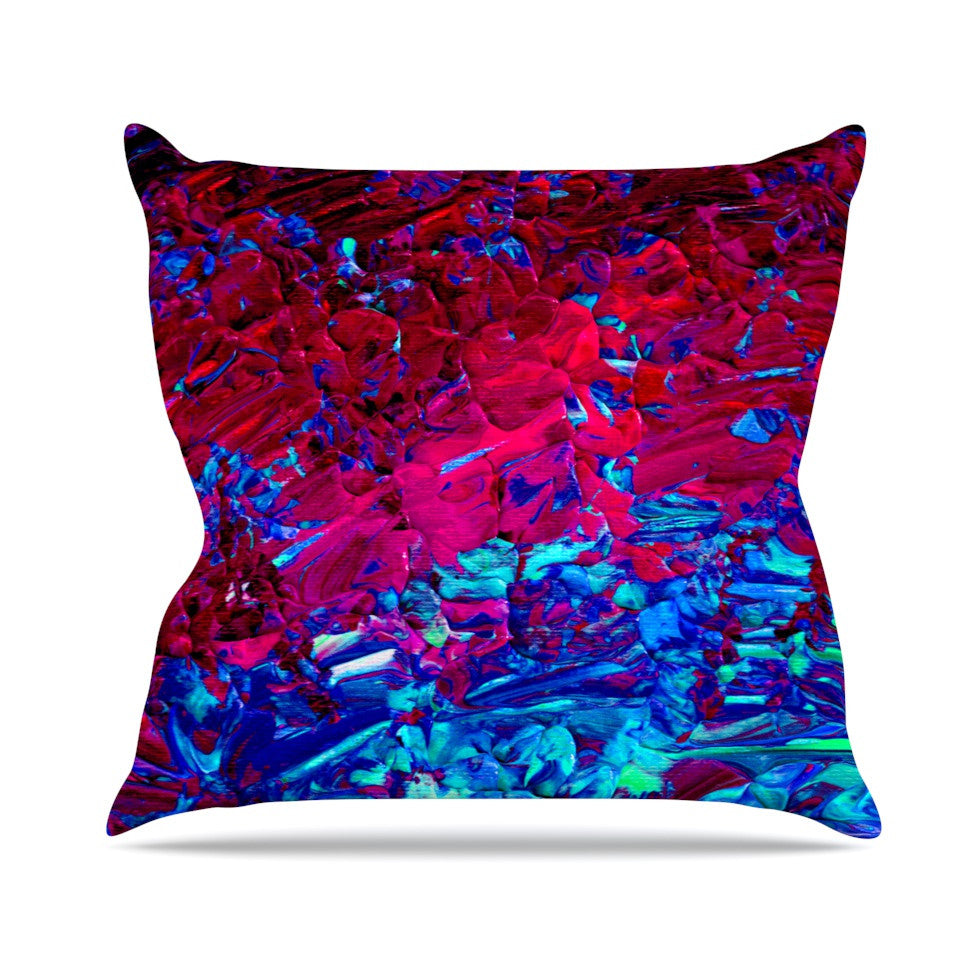 "Ebi Emporium ""Eternal Tide"" Red Blue Outdoor Throw Pillow - KESS InHouse  - 1"