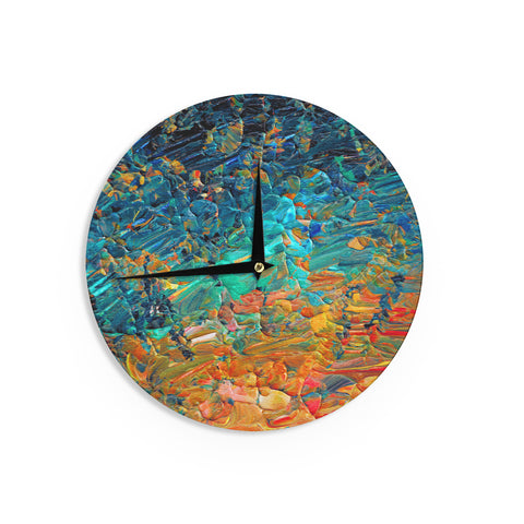 "Ebi Emporium ""Eternal Tide II"" Teal Orange Wall Clock - Outlet Item"