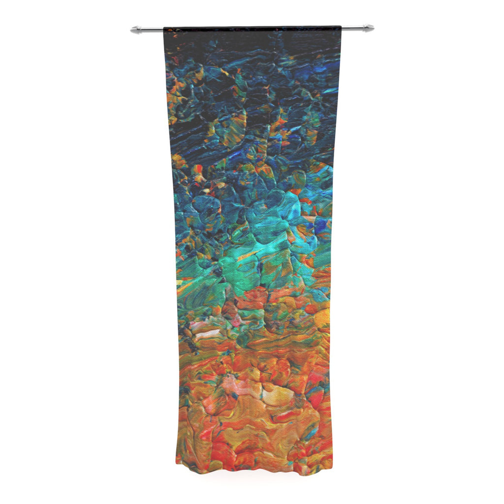 "Ebi Emporium ""Eteranl Tide II"" Teal Orange Decorative Sheer Curtain - KESS InHouse  - 1"